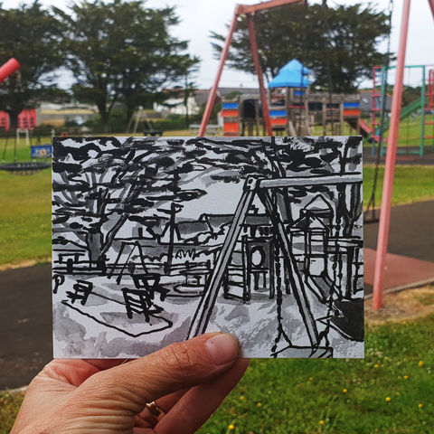 #158,Playground,,Mullion,,Lizard,Peninsula,playground, mullion, sketch artist, sketchbook, original art, affordable art, mini art, postcard art, art project, artist, cornish art