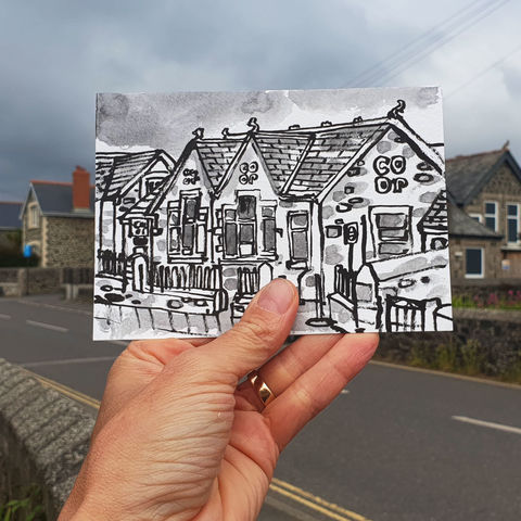 #160,Co-op,,Old,School,Building,,Mullion,,Lizard,Peninsula,co-op, mullion, sketch artist, sketchbook, original art, affordable art, mini art, postcard art, art project, artist, cornish art, church