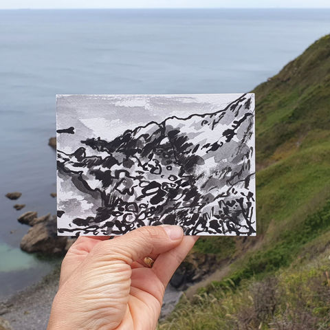 #161,Natural,archway,,Polbarrow,,Lizard,Peninsula,polbarrow, lizard, sketch artist, sketchbook, original art, affordable art, mini art, postcard art, art project, artist, cornish art, church