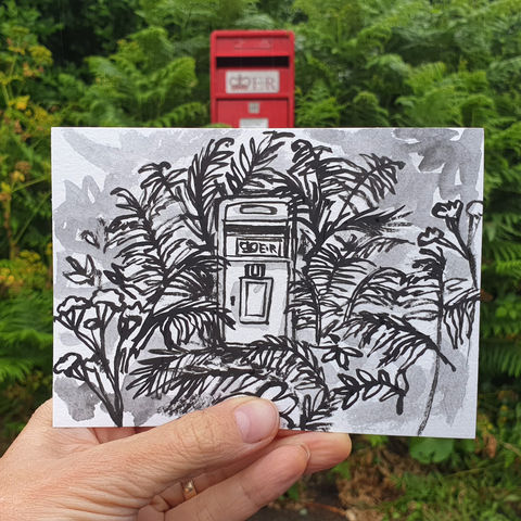 #164,Postbox,and,ferns,,Mullion,,Lizard,Peninsula,mullion, lizard, sketch artist, sketchbook, original art, affordable art, mini art, postcard art, art project, artist, cornish art, church