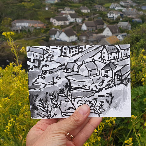 #167,Cadgwith,Cottages,,Lizard,Peninsula,cadgwith, lizard, sketch artist, sketchbook, original art, affordable art, mini art, postcard art, art project, artist, cornish art, church