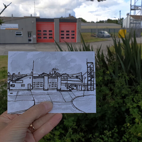 #168,Community,Fire,station,,Mullion,,Lizard,Peninsula,fire station, lizard, sketch artist, sketchbook, original art, affordable art, mini art, postcard art, art project, artist, cornish art, church
