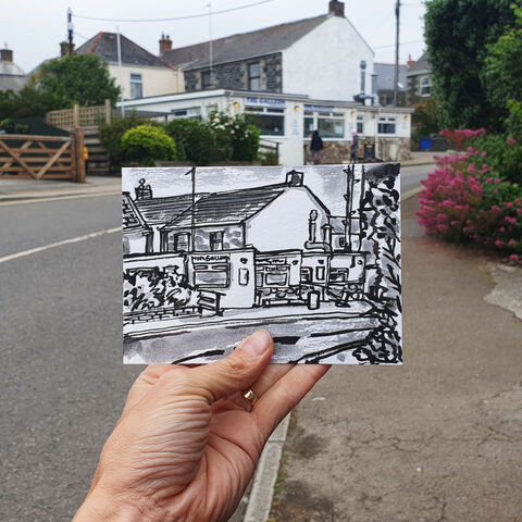 #170,The,Galleon,chip,shop,,Mullion,,Lizard,Peninsula,fish and chip shop, galleon, mullion, lizard, sketch artist, sketchbook, original art, affordable art, mini art, postcard art, art project, artist, cornish art, church