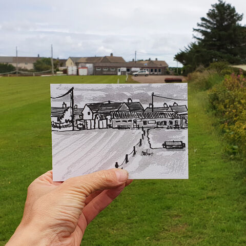 #171,Football,club,,Mullion,,Lizard,Peninsula,fish and chip shop, galleon, mullion, lizard, sketch artist, sketchbook, original art, affordable art, mini art, postcard art, art project, artist, cornish art, church