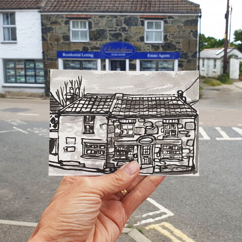 #172,Christopher's,Estate,Agents,,Mullion,,Lizard,Peninsula,christopher's estate agents, galleon, mullion, lizard, sketch artist, sketchbook, original art, affordable art, mini art, postcard art, art project, artist, cornish art, church