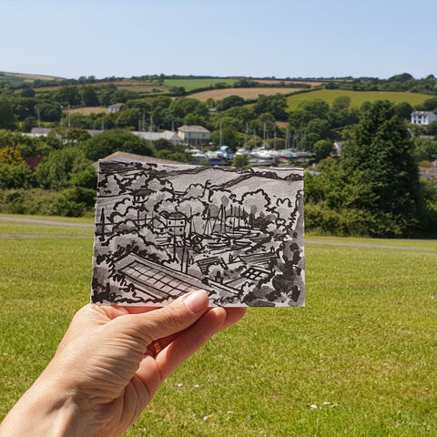 #175,Gweek,,Lizard,Peninsula,gweek, lizard, sketch artist, sketchbook, original art, affordable art, mini art, postcard art, art project, artist, cornish art, church