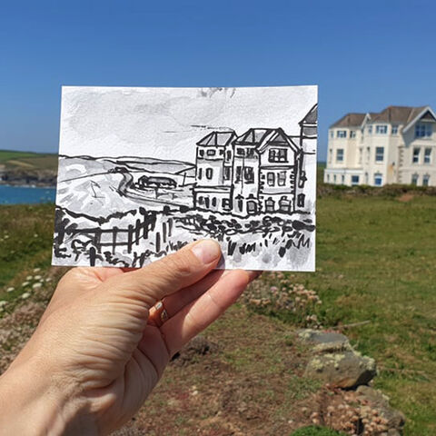 #176,Swallowcourt,,Poldhu,,Lizard,Peninsula,swallowcourt, lizard, sketch artist, sketchbook, original art, affordable art, mini art, postcard art, art project, artist, cornish art, church