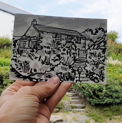 #177,Cottage,garden,,Mullion,,Lizard,Peninsula,cottage, lizard, sketch artist, sketchbook, original art, affordable art, mini art, postcard art, art project, artist, cornish art, church