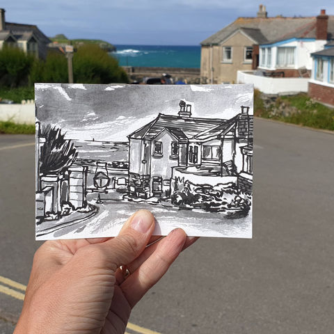 #180,Porthmellin,tearoom,,Mullion,,Lizard,Peninsula,porthmellin, lizard, sketch artist, sketchbook, original art, affordable art, mini art, postcard art, art project, artist, cornish art, church