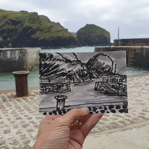 #181,Mullion,Harbour,,Cove,,Lizard,Peninsula,porthmellin, mullion cove, harbour, lizard, sketch artist, sketchbook, original art, affordable art, mini art, postcard art, art project, artist, cornish art, church