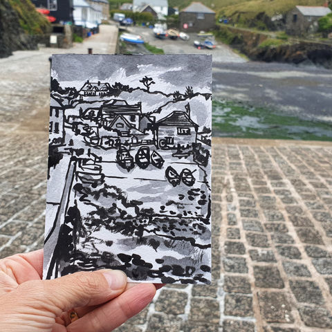 #182,Mullion,Cove,,Lizard,Peninsula,porthmellin, mullion cove, harbour, lizard, sketch artist, sketchbook, original art, affordable art, mini art, postcard art, art project, artist, cornish art, church