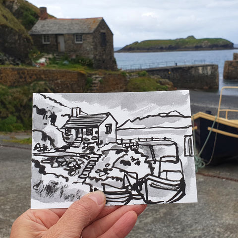 #184,Mullion,Cove,Fisherman's,hut,,Lizard,Peninsula,porthmellin, mullion cove, harbour, lizard, sketch artist, sketchbook, original art, affordable art, mini art, postcard art, art project, artist, cornish art, church