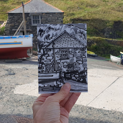 #185,Fisherman's,hut,,Mullion,Cove,,Lizard,Peninsula,porthmellin, mullion cove, harbour, lizard, sketch artist, sketchbook, original art, affordable art, mini art, postcard art, art project, artist, cornish art, church