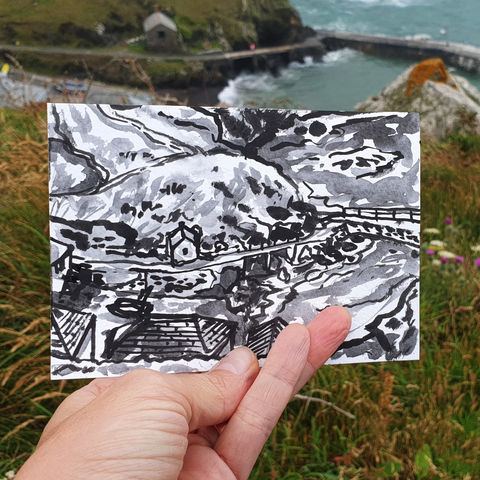 #186,Mullion,Harbour,,Lizard,Peninsula,porthmellin, mullion cove, harbour, lizard, sketch artist, sketchbook, original art, affordable art, mini art, postcard art, art project, artist, cornish art, church