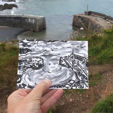 #187,Mullion,Harbour,,Lizard,Peninsula,porthmellin, mullion cove, harbour, lizard, sketch artist, sketchbook, original art, affordable art, mini art, postcard art, art project, artist, cornish art, church
