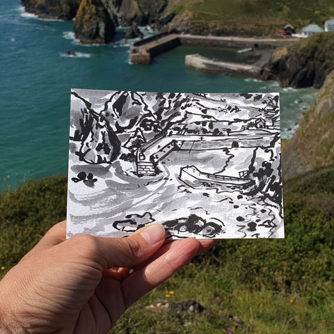 #188,Mullion,Harbour,,Lizard,Peninsula,porthmellin, mullion cove, harbour, lizard, sketch artist, sketchbook, original art, affordable art, mini art, postcard art, art project, artist, cornish art, church