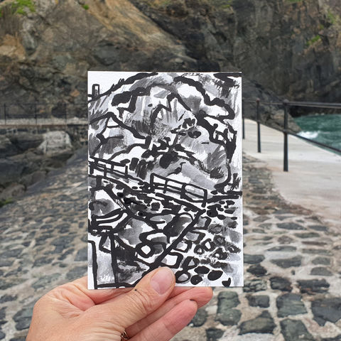 #189,Mullion,Harbour,,Lizard,Peninsula,porthmellin, mullion cove, harbour, lizard, sketch artist, sketchbook, original art, affordable art, mini art, postcard art, art project, artist, cornish art, church