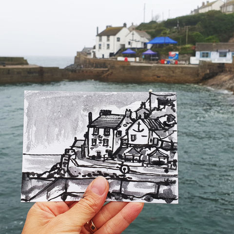 #190,The,Ship,Inn,,Porthleven,,Cornwall,porthleven, harbour, sketch artist, sketchbook, original art, affordable art, mini art, postcard art, art project, artist, cornish art, church