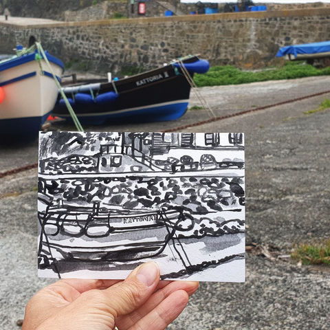 #191,Boats,at,Mullion,Cove,,Mullion,,Cornwall,porthleven, harbour, sketch artist, sketchbook, original art, affordable art, mini art, postcard art, art project, artist, cornish art, church