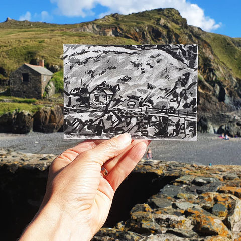 #192,Hut,at,Mullion,Cove,,Mullion,,Cornwall,porthleven, harbour, sketch artist, sketchbook, original art, affordable art, mini art, postcard art, art project, artist, cornish art, church