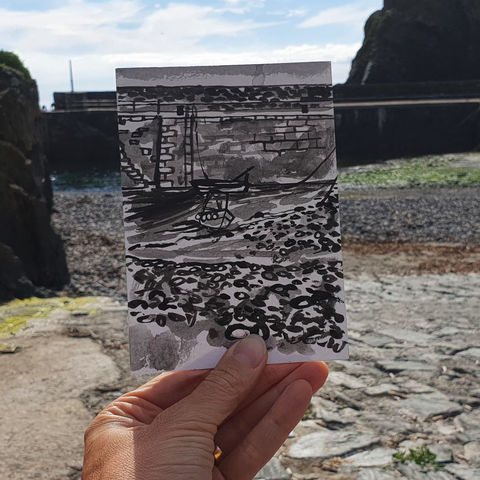 #193,harbour,boats,,Mullion,Cove,,Cornwall,mullion, harbour, sketch artist, sketchbook, original art, affordable art, mini art, postcard art, art project, artist, cornish art, church