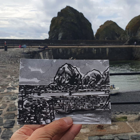 #196,Mullion,Harbour,,Stacks,,Cove,,Cornwall,mullion, harbour, sketch artist, sketchbook, original art, affordable art, mini art, postcard art, art project, artist, cornish art, church