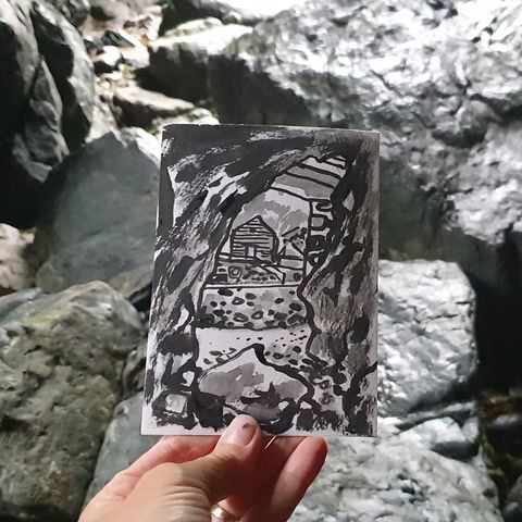 #197,Secret,cave,passage,,Mullion,Cove,,Cornwall, mullion, harbour, sketch artist, sketchbook, original art, affordable art, mini art, postcard art, art project, artist, cornish art, church