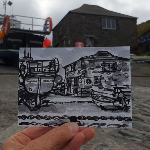 #198,Boats,and,chains,,Mullion,Cove,,Cornwall,pegasus, boat, mullion, harbour, sketch artist, sketchbook, original art, affordable art, mini art, postcard art, art project, artist, cornish art, church