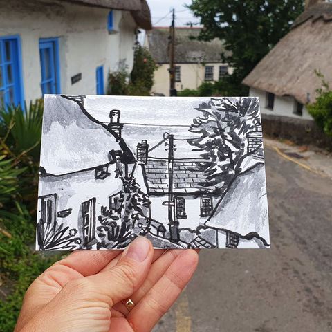 #200,Cottages,at,Cadgwith,,Cornwall,cadgwith, thatch cottage, cornish cottage, harbour, sketch artist, sketchbook, original art, affordable art, mini art, postcard art, art project, artist, cornish art, church