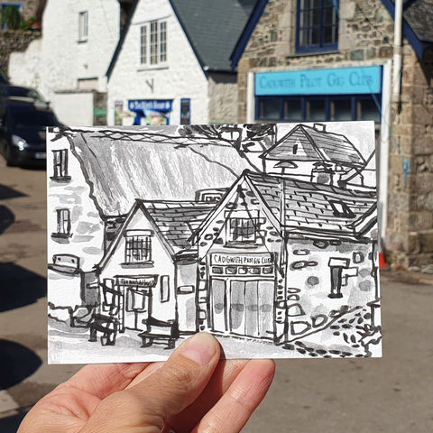 #201,Pilot,Gig,Club,,Cadgwith,,Cornwall,gig club, cadgwith, thatch cottage, cornish cottage, harbour, sketch artist, sketchbook, original art, affordable art, mini art, postcard art, art project, artist, cornish art, church
