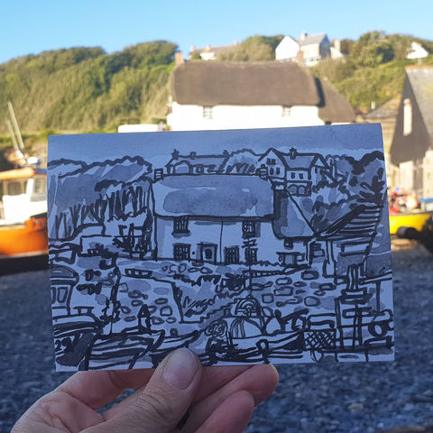 #203,Cadgwith,Cove,Cottage,,Cadgwith,,Cornwall,cadgwith, thatch cottage, cornish cottage, harbour, sketch artist, sketchbook, original art, affordable art, mini art, postcard art, art project, artist, cornish art, church