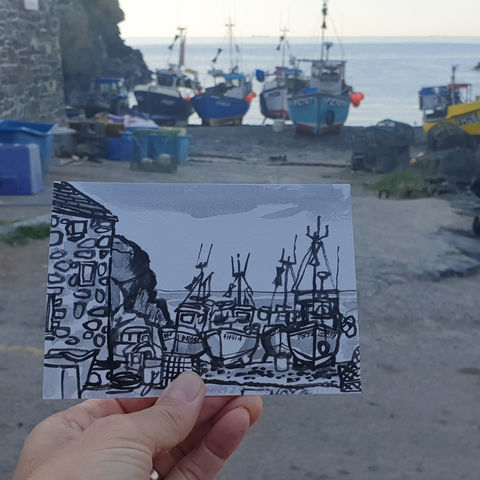 #204,Fishing,boats,,Cadgwith,Cove,,Cornwall,cadgwith, fishing boats, harbour, sketch artist, sketchbook, original art, affordable art, mini art, postcard art, art project, artist, cornish art, church