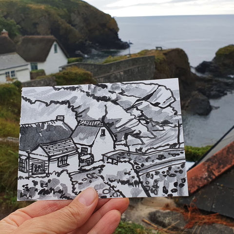 #206,Cadgwith,Cove,,Cornwall,cadgwith, fishing boats, harbour, sketch artist, sketchbook, original art, affordable art, mini art, postcard art, art project, artist, cornish art, church