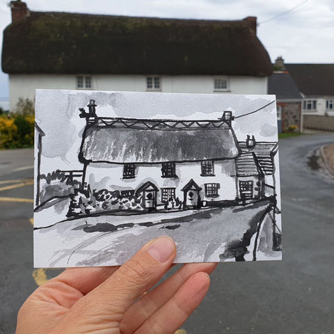 #207,Thatch,Cottage,,Ruan,Minor,,Cornwall,ruan minor, thatch cottage, harbour, sketch artist, sketchbook, original art, affordable art, mini art, postcard art, art project, artist, cornish art, church