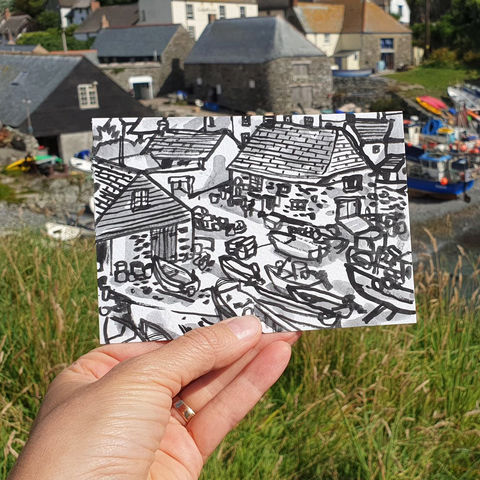 #208,Fishing,Boats,,Cadgwith,,Cornwall,cadgwith, fishing boats, thatch cottage, harbour, sketch artist, sketchbook, original art, affordable art, mini art, postcard art, art project, artist, cornish art, church