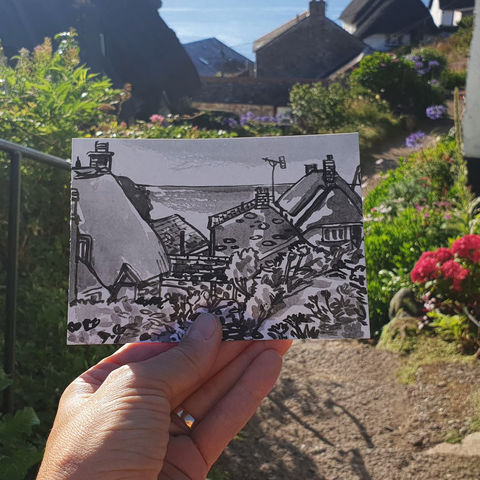 #216,Cadgwith,,Cornwall, cadgwith,  thatch cottage, harbour, sketch artist, sketchbook, original art, affordable art, mini art, postcard art, art project, artist, cornish art, church