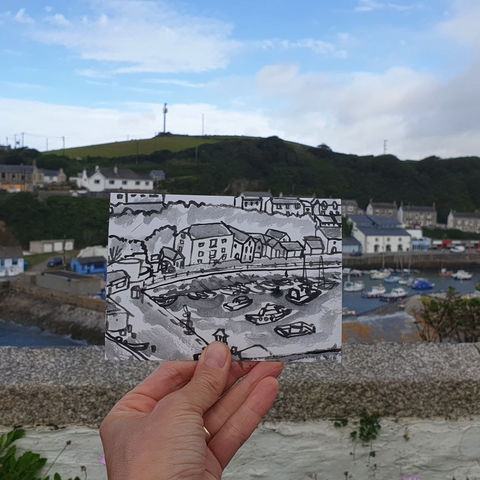#218,Porthleven,harbour,,Cornwall,porthleven,  thatch cottage, harbour, sketch artist, sketchbook, original art, affordable art, mini art, postcard art, art project, artist, cornish art, church