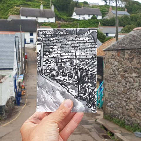 #219,New,Road,,Cadgwith,,Cornwall,cadgwith,  thatch cottage, harbour, sketch artist, sketchbook, original art, affordable art, mini art, postcard art, art project, artist, cornish art, church