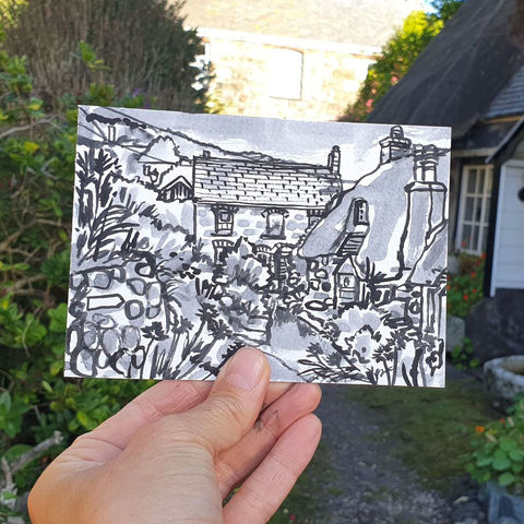 #221,Cottages,,Cadgwith,,Cornwall,cadgwith, thatch cottage, harbour, sketch artist, sketchbook, original art, affordable art, mini art, postcard art, art project, artist, cornish art, church