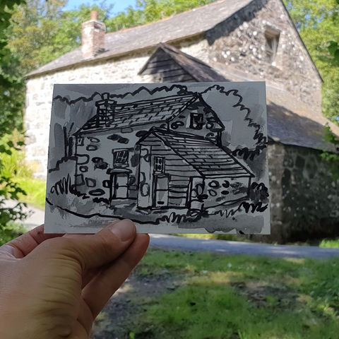 #222,Old,mill,,Poltesco,,Cornwall,poltesco, thatch cottage, harbour, sketch artist, sketchbook, original art, affordable art, mini art, postcard art, art project, artist, cornish art, church