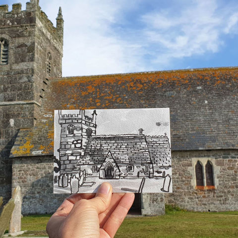 #223,St,Grada,and,Holy,Cross,Church,,Grade,,Cornwall,grade church, st. ruan, thatch cottage, harbour, sketch artist, sketchbook, original art, affordable art, mini art, postcard art, art project, artist, cornish art, church