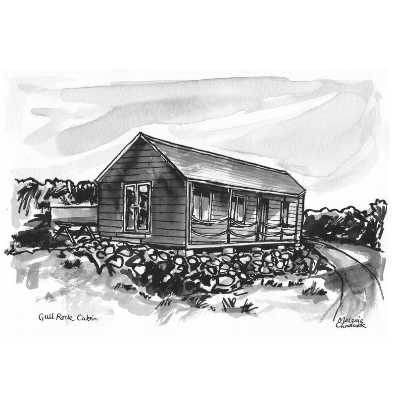Brush and ink custom house portrait - product images  of