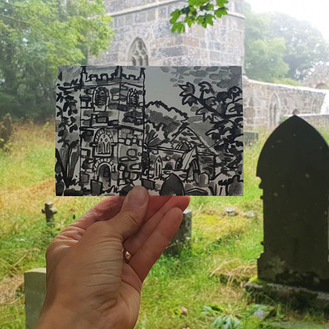 #226,St.,Ruan's,,Ruan,Major,,Cornwall,st. ruan's church, sketch artist, sketchbook, original art, affordable art, mini art, postcard art, art project, artist, cornish art, church