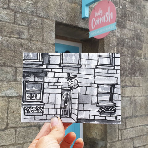 #227,Truly,Cornish,Cake,shop,,Porthleven,,Cornwall,truly cornish, sketch artist, sketchbook, original art, affordable art, mini art, postcard art, art project, artist, cornish art, church