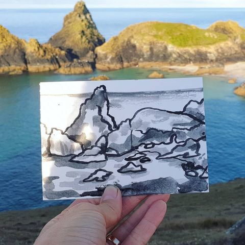 #228,Kynance,Cove,,Lizard,Cornwall,kynance cove, sketch artist, sketchbook, original art, affordable art, mini art, postcard art, art project, artist, cornish art, church