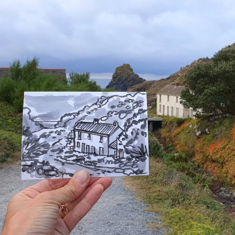 #229,Abandoned,cottages,,Kynance,Cove,,Lizard,Cornwall,kynance cove, sketch artist, sketchbook, original art, affordable art, mini art, postcard art, art project, artist, cornish art, church