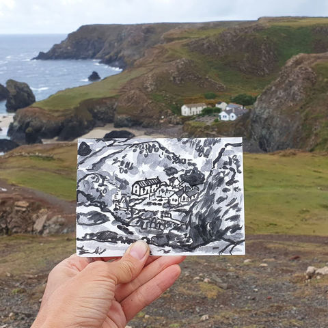 #231,Kynance,Cove,,Lizard,Cornwall,kynance cove, sketch artist, sketchbook, original art, affordable art, mini art, postcard art, art project, artist, cornish art, church