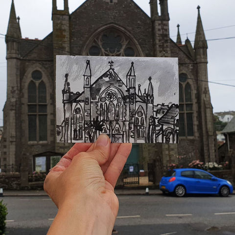#232,Methodist,Chapel,,Porthleven,,Cornwall,methodist chapel, sketch artist, sketchbook, original art, affordable art, mini art, postcard art, art project, artist, cornish art, church