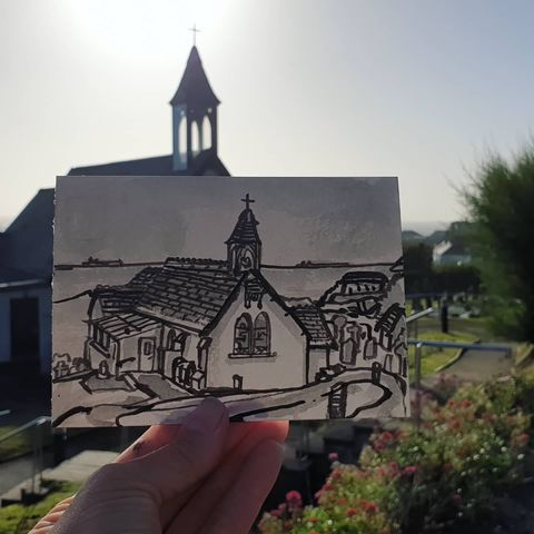 #233,St.,Peter's,Church,,Coverack,,Cornwall,methodist chapel, sketch artist, sketchbook, original art, affordable art, mini art, postcard art, art project, artist, cornish art, church
