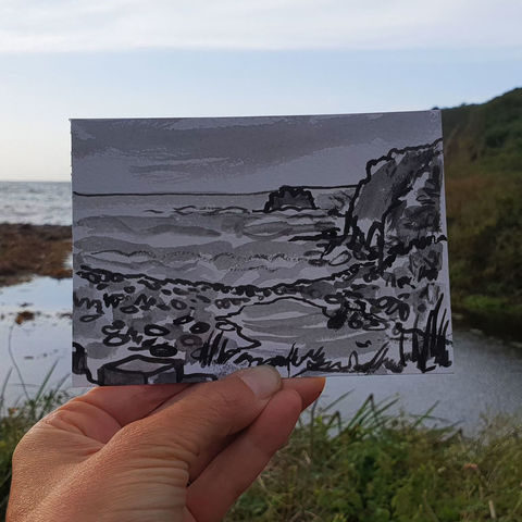 #234,Caerleon,Cove,,Poltesco,,Cornwall,poltesco, sketch artist, sketchbook, original art, affordable art, mini art, postcard art, art project, artist, cornish art, church